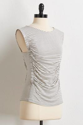 striped ruched tank