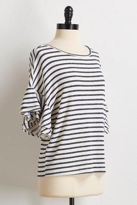hacci stripe flutter sleeve top