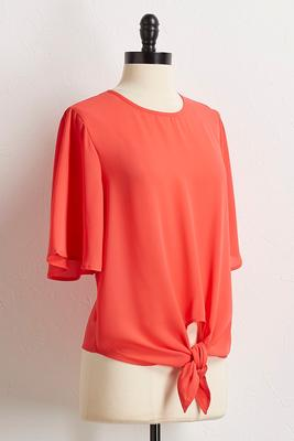 orange tie waist top