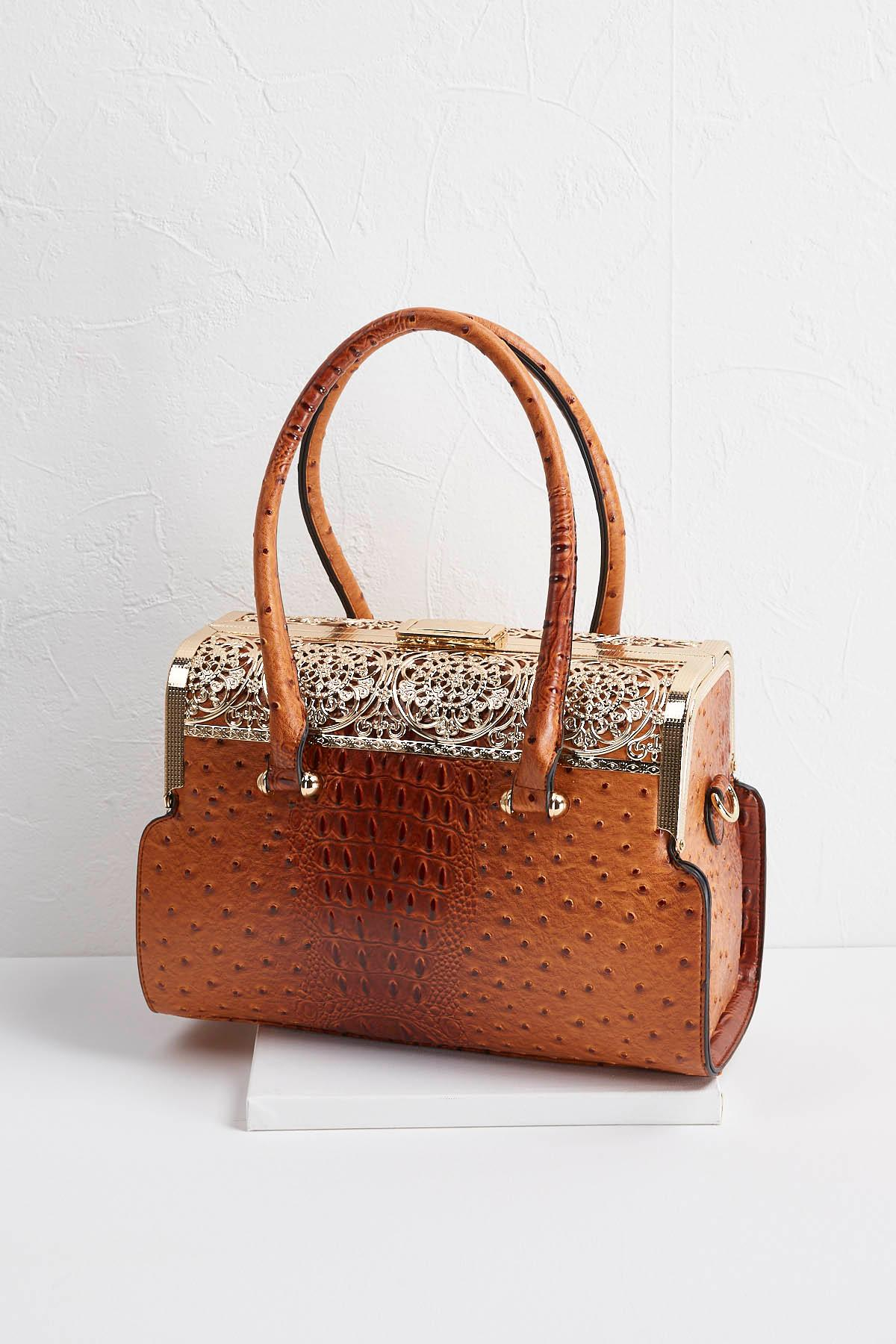 Gold Embellished Ostrich Satchel