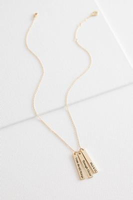 inspirational triple bar pendant necklace