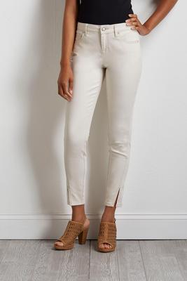ivory slit hem skinny jeans s