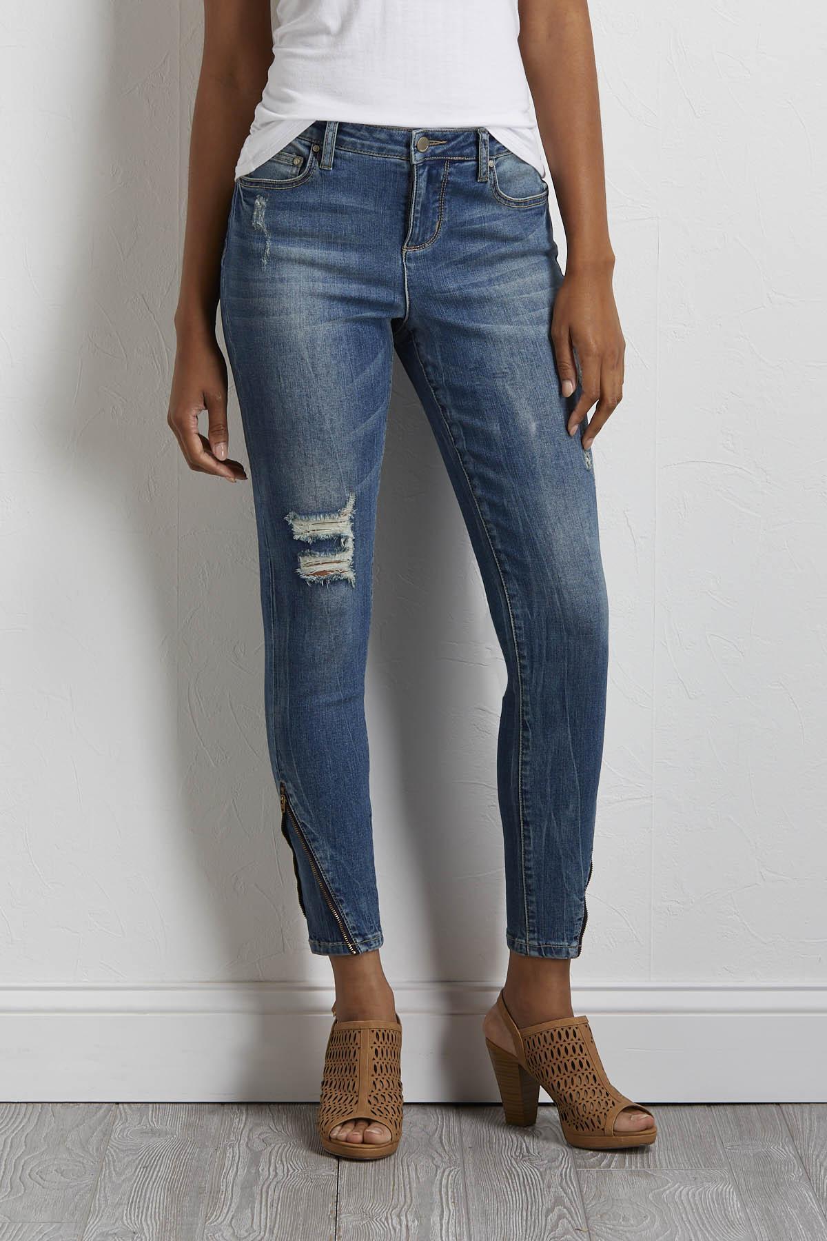 Distressed Zip Hem Jeans