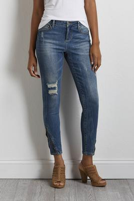 distressed zip hem jeans