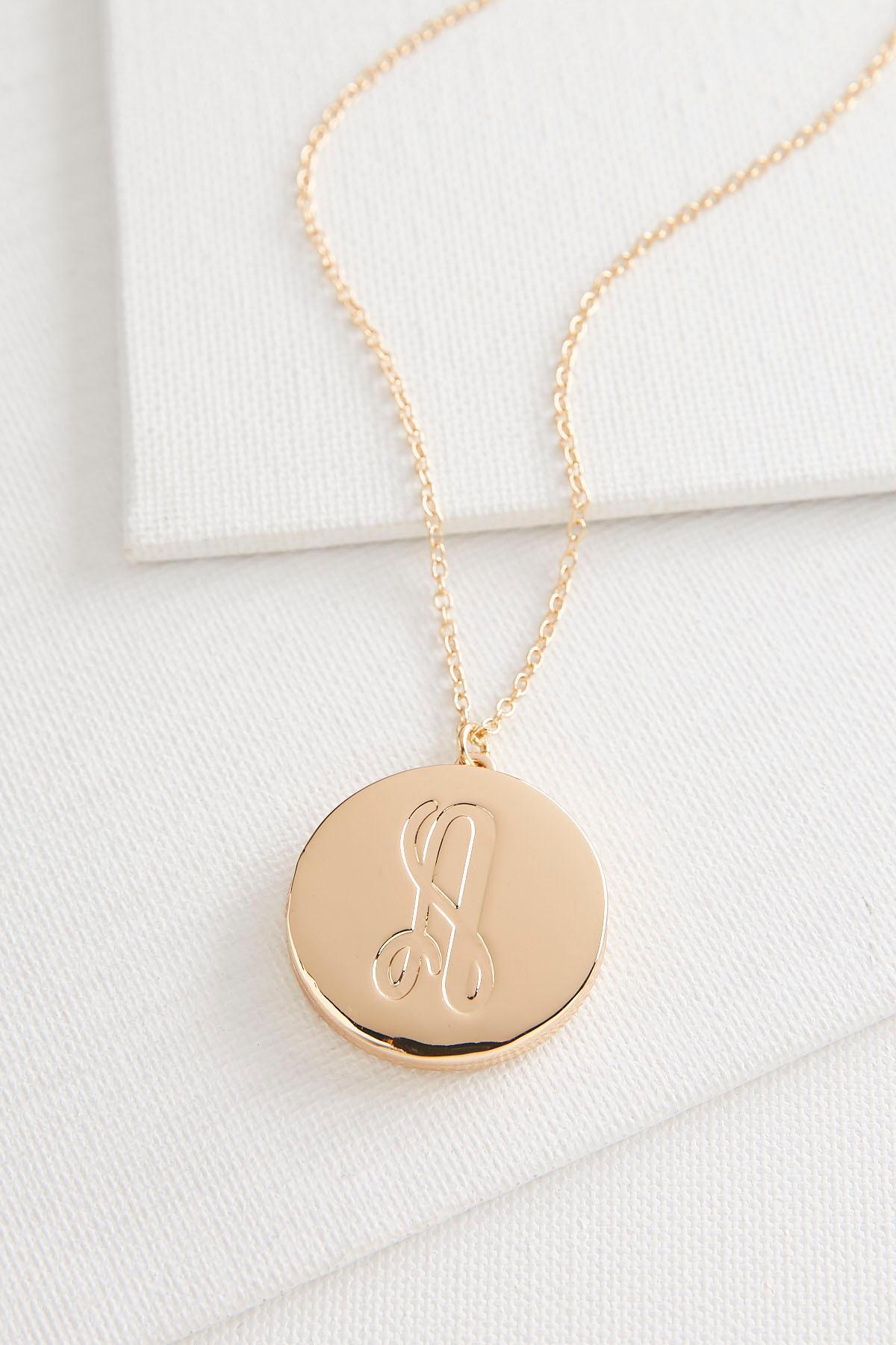 A Monogram Locket Pendant Necklace