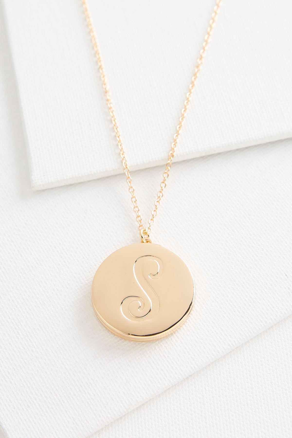S Monogram Locket Pendant Necklace