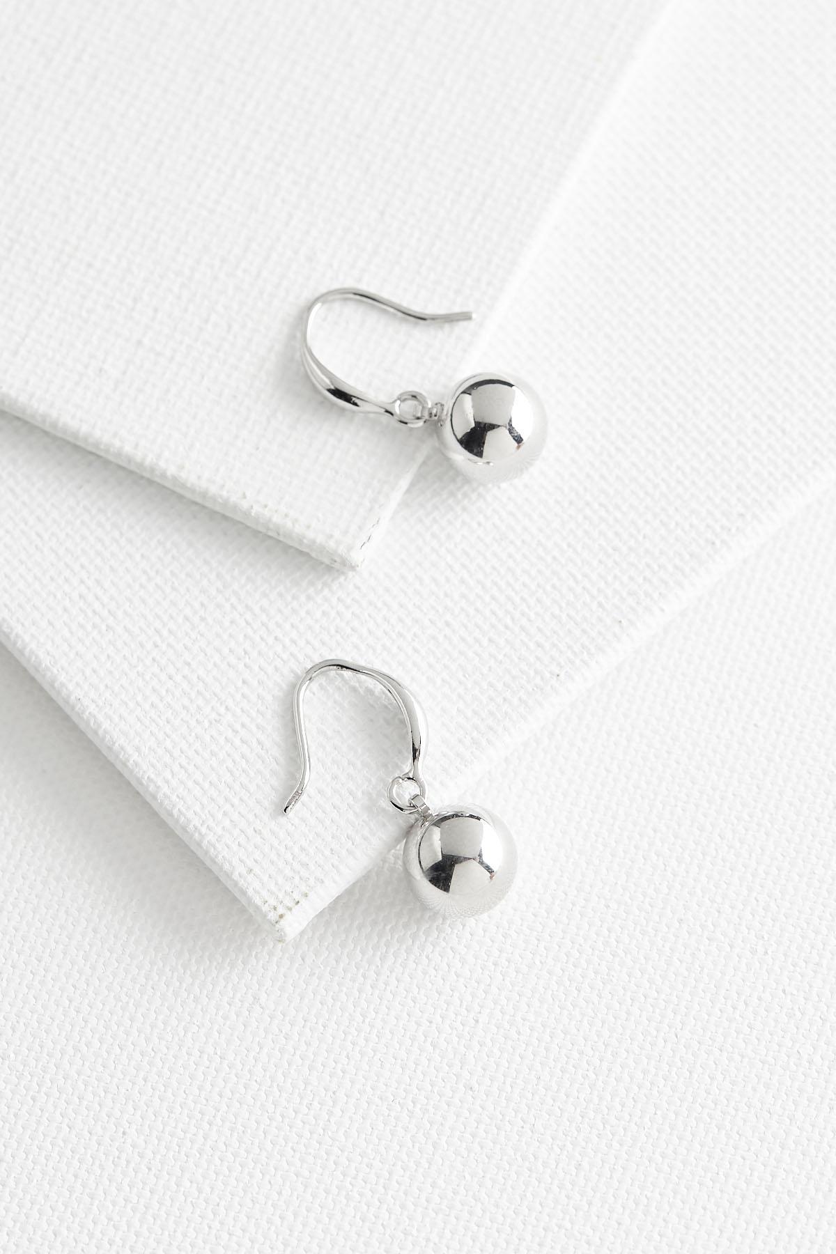 Gray Ball Dangle Earrings