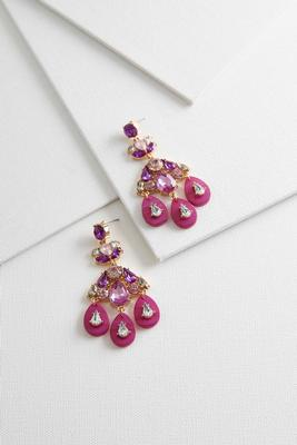 flower stone statement earrings