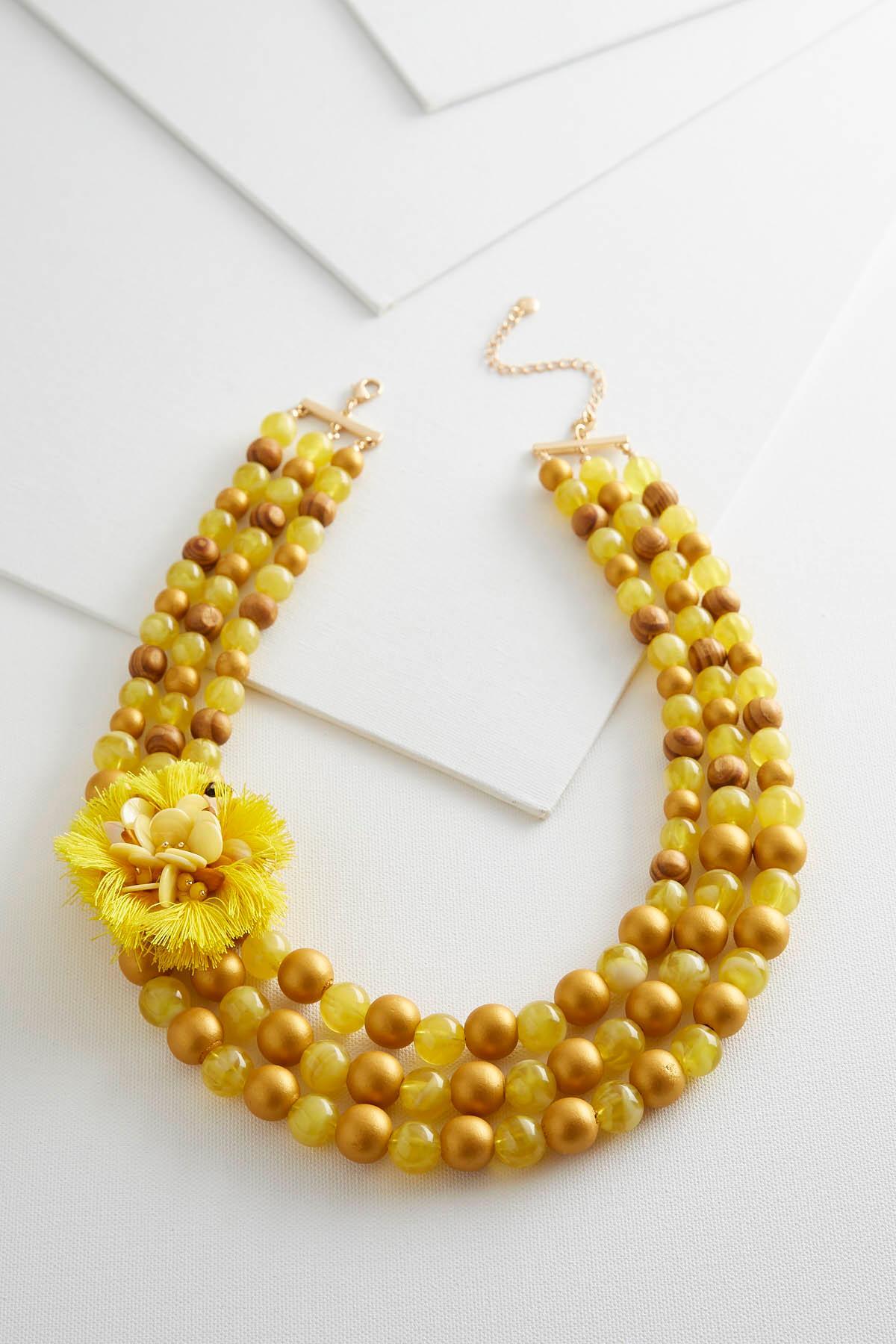 Beaded Tassel Flower Necklace