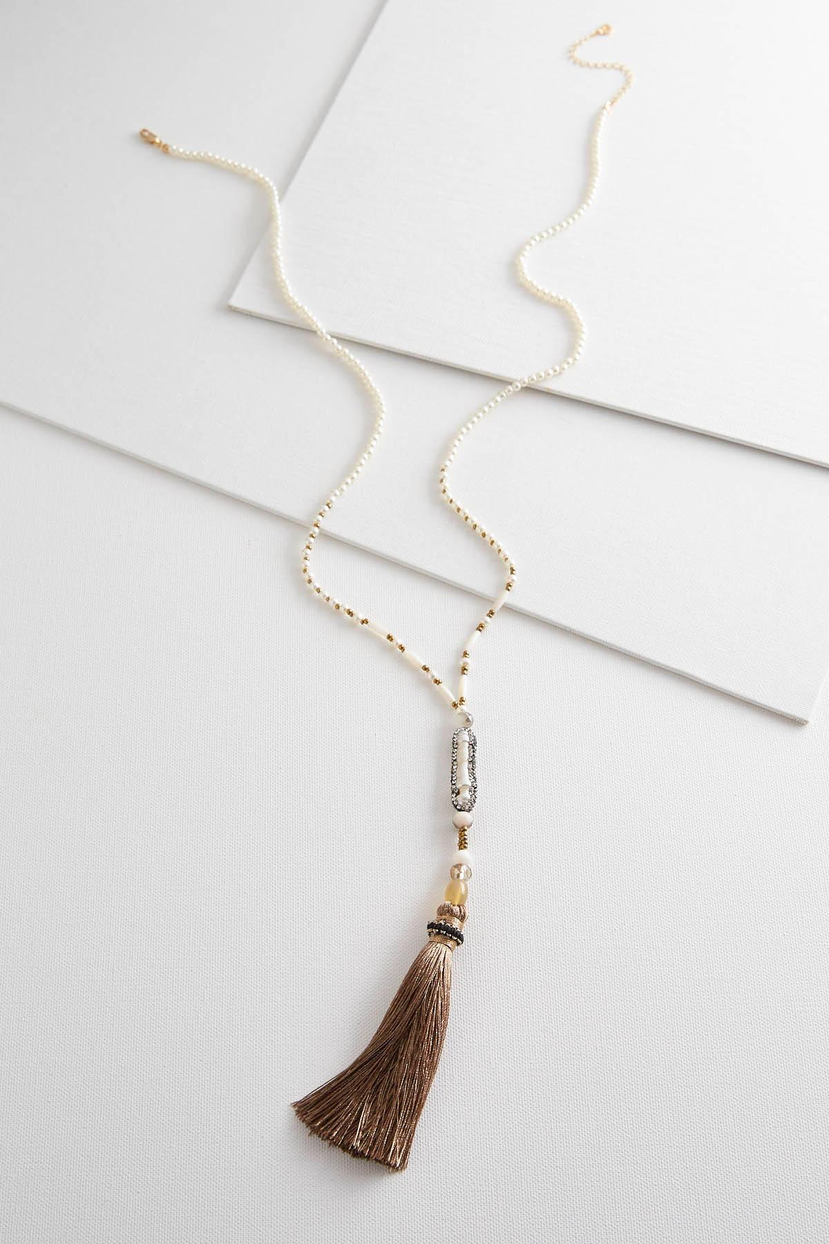 Tasseled Stone Pearl Necklace