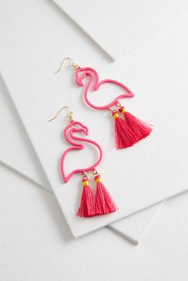 tasseled flamingo earrings