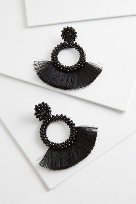 crystal circle fringe earrings