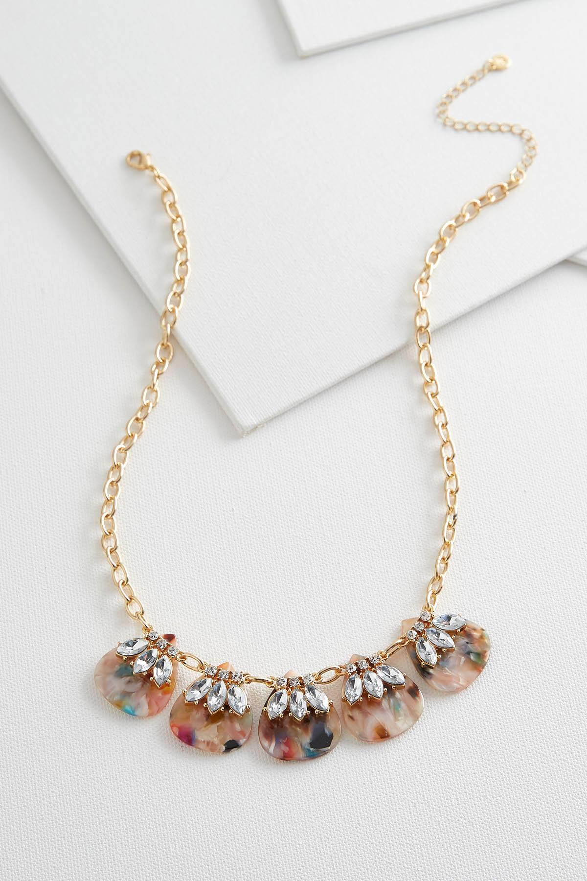 Marbled Resin Bib Necklace