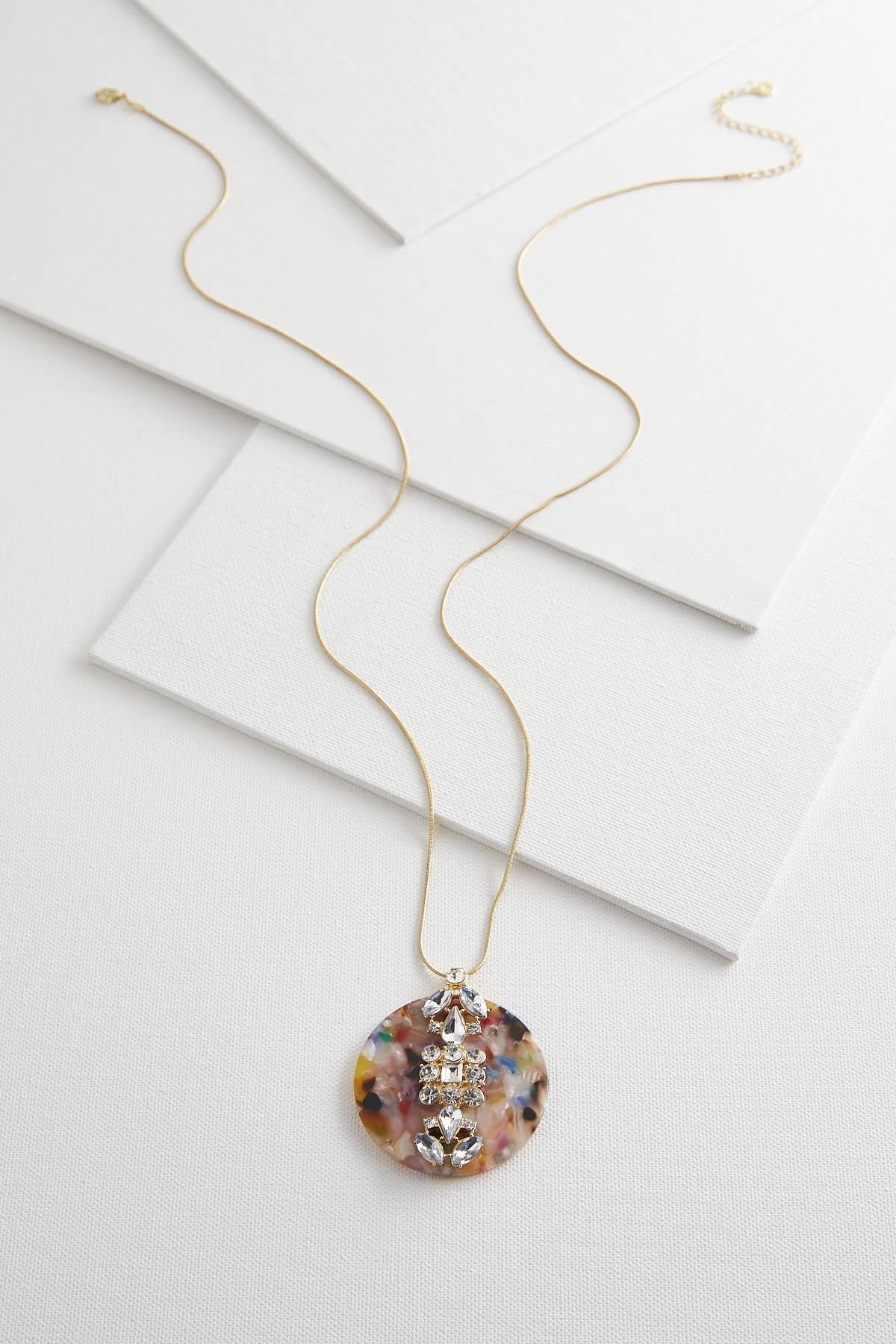 Marbled Resin Circle Pendant Necklace