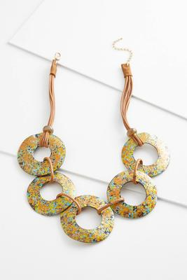 speckled disk necklace
