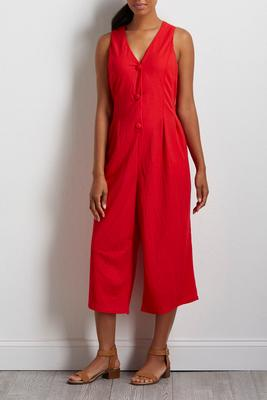 cropped solid red jumpsuit