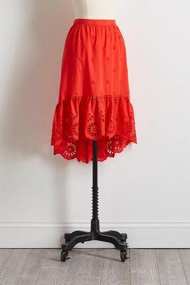 eyelet high-low ruffle skirt