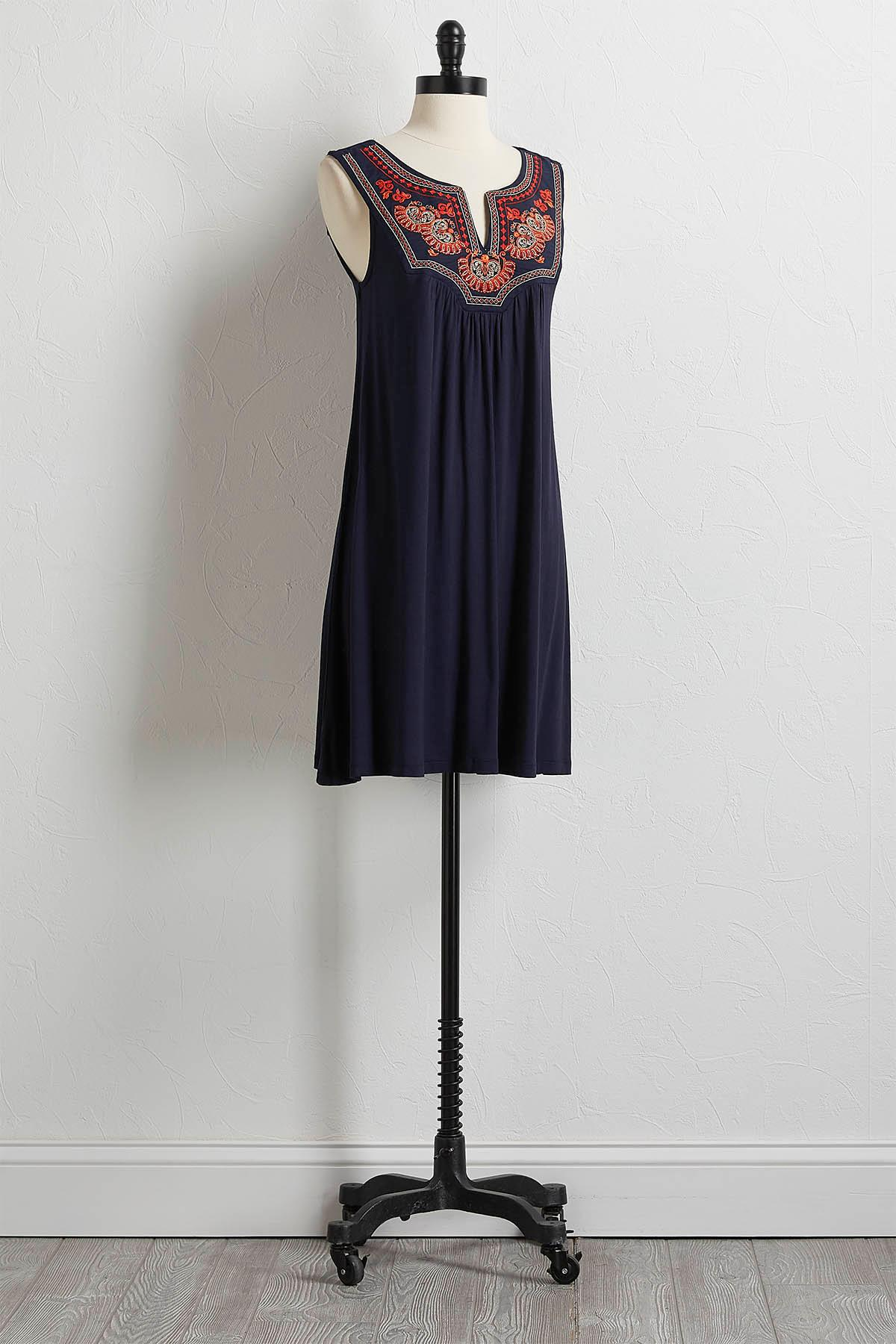 Solid Embroidered Yoke Shift Dress