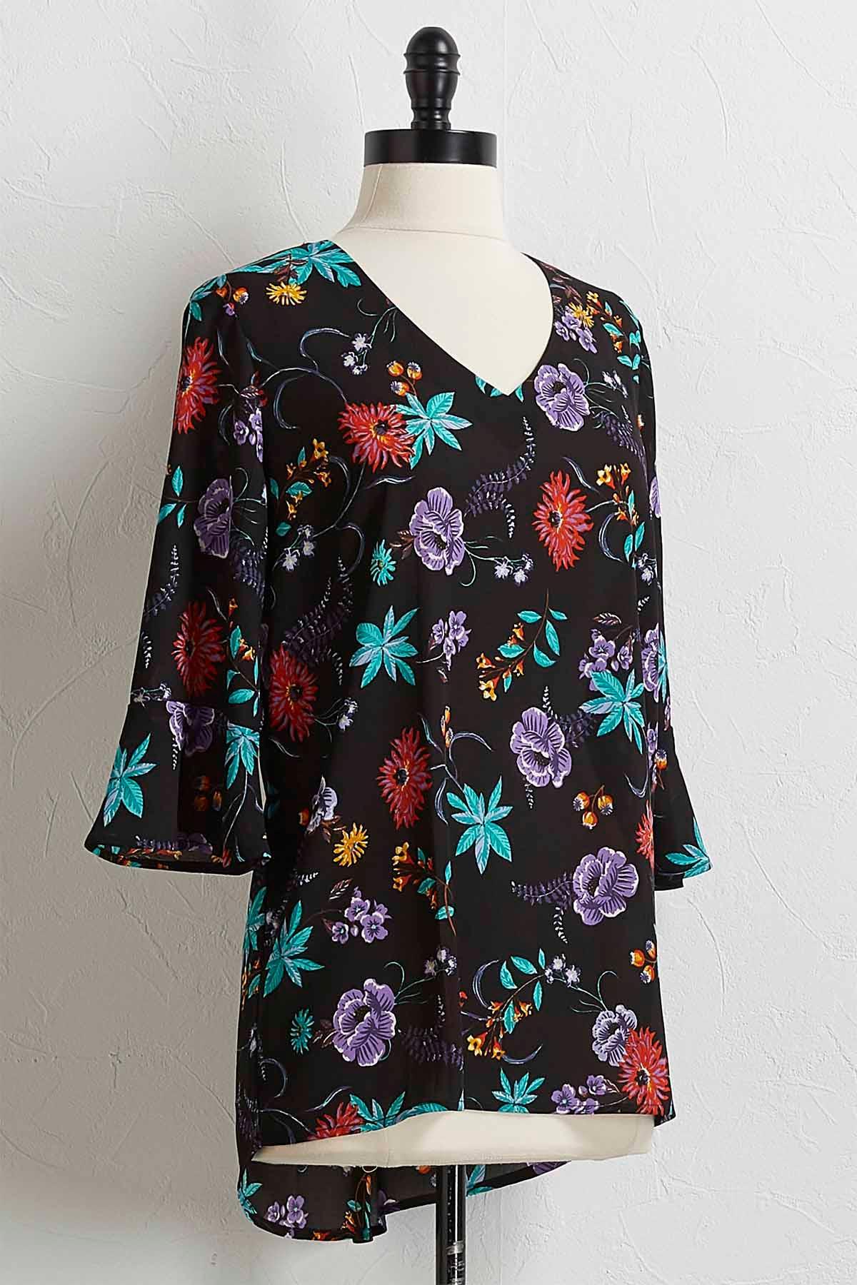 Vine Floral Bell Sleeve Top
