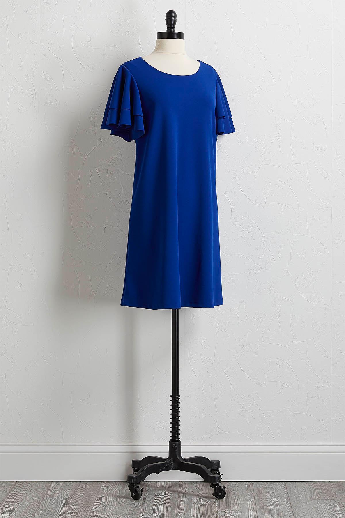 Tiered Flutter Sleeve Shift Dress