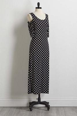 polka dot bare shoulder maxi dress