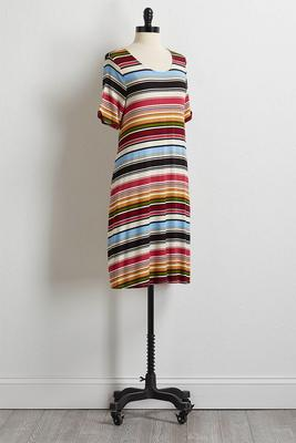 multi stripe tee shirt dress