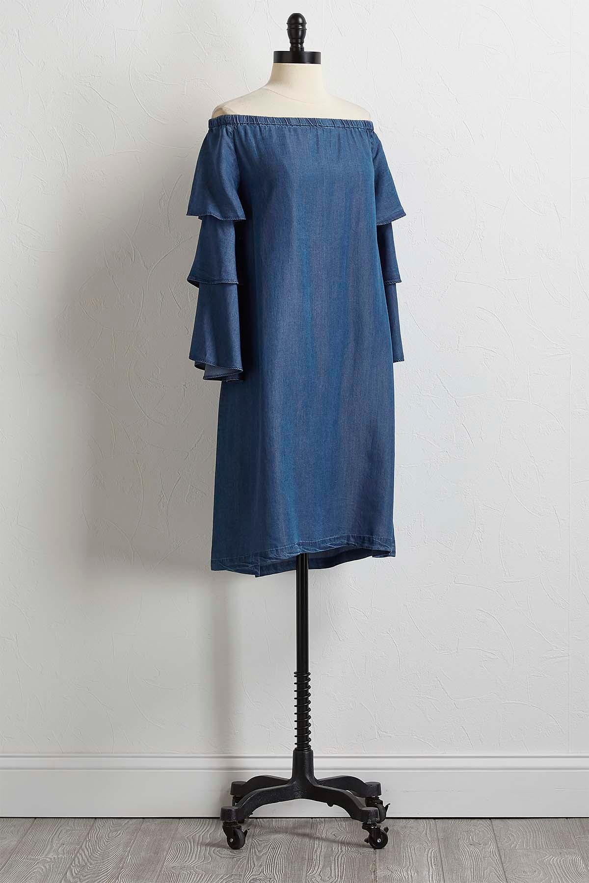 Chambray Tiered Sleeve Dress