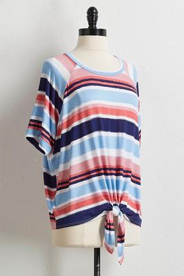knotted multi stripe tee