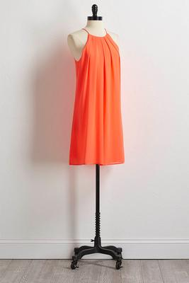 solid pleated shift dress