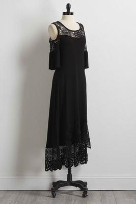 crochet inset high-low maxi dress