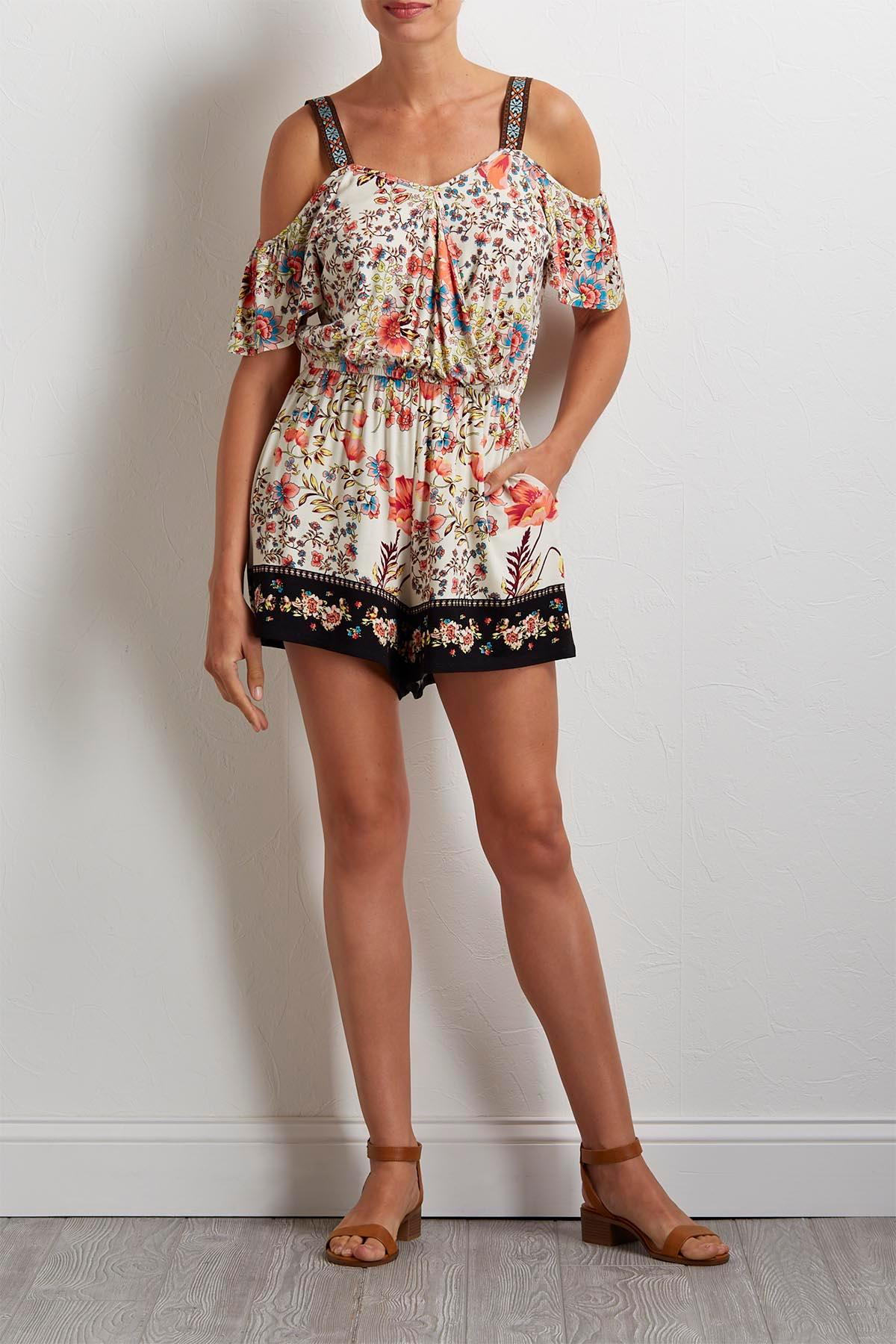 Floral Bare Shoulder Romper