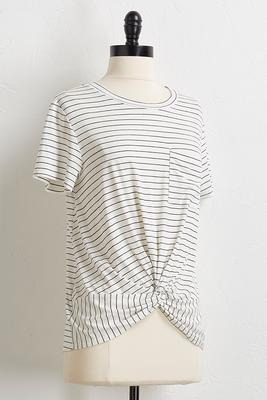 stripe pocket knot front tee