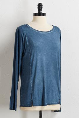 faded wash high-low tunic