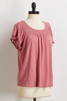 solid tasseled sleeve top