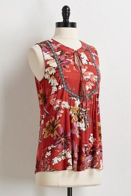 floral tassel tie top