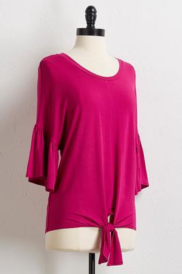 bright solid tie hem top