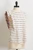 Textured Stripe Flutter Sleeve Top
