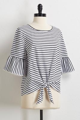 striped crochet trim top