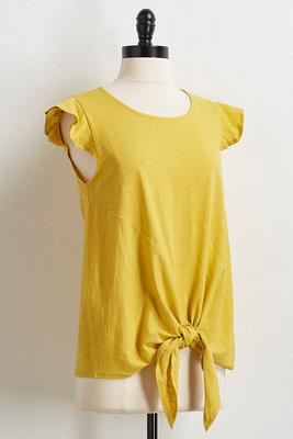 ruffled sleeve tie front top