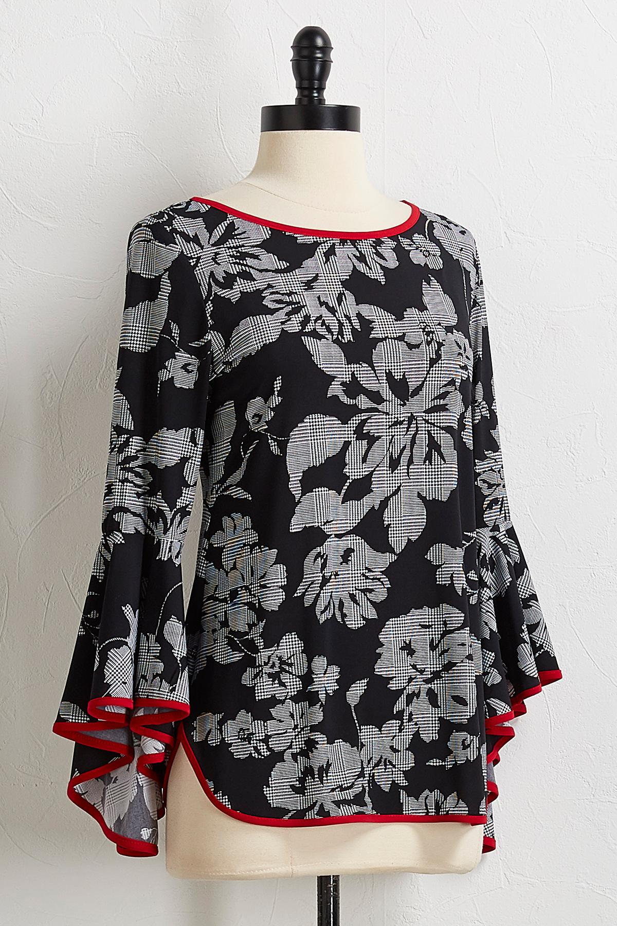 Check Floral Ruffled Sleeve Top