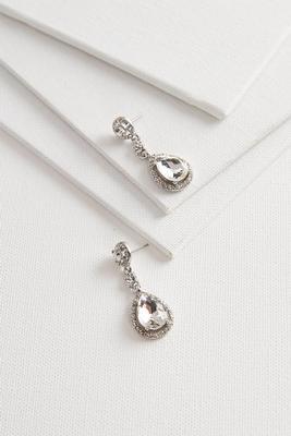 haloed stone dangle earrings