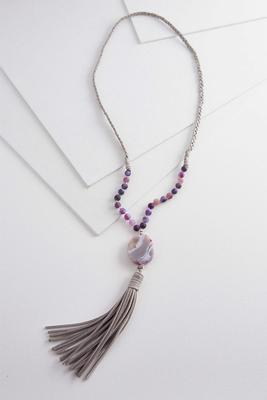 semi-precious tassel necklace