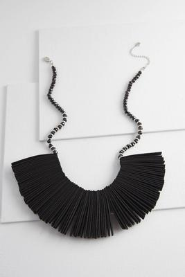 fanned faux suede necklace