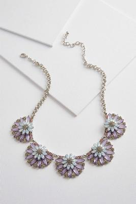 fanned glass bib necklace