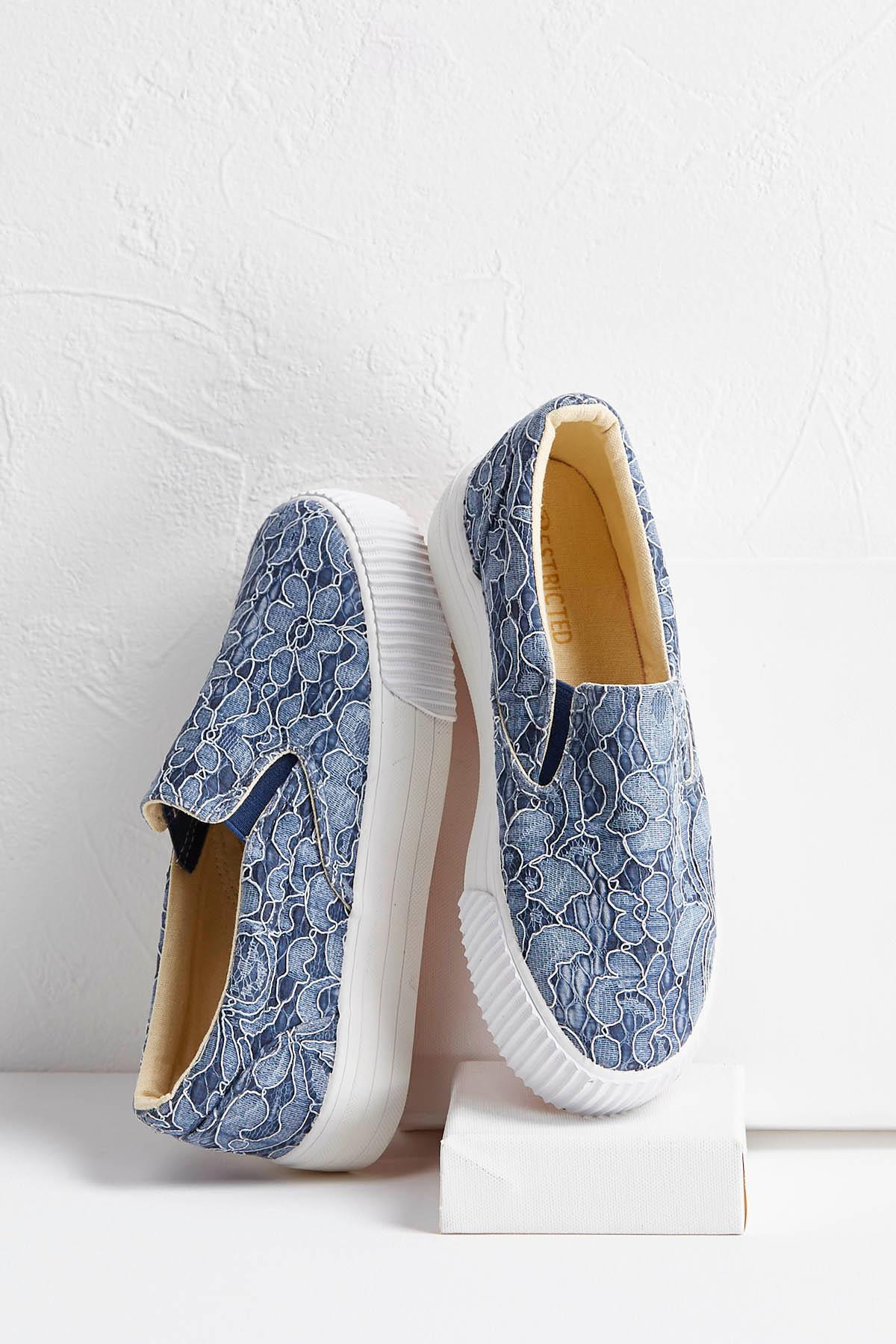 Blue Lace Textured Sneakers