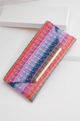 multicolored woven straw clutch