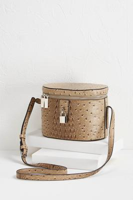 ostrich train case crossbody