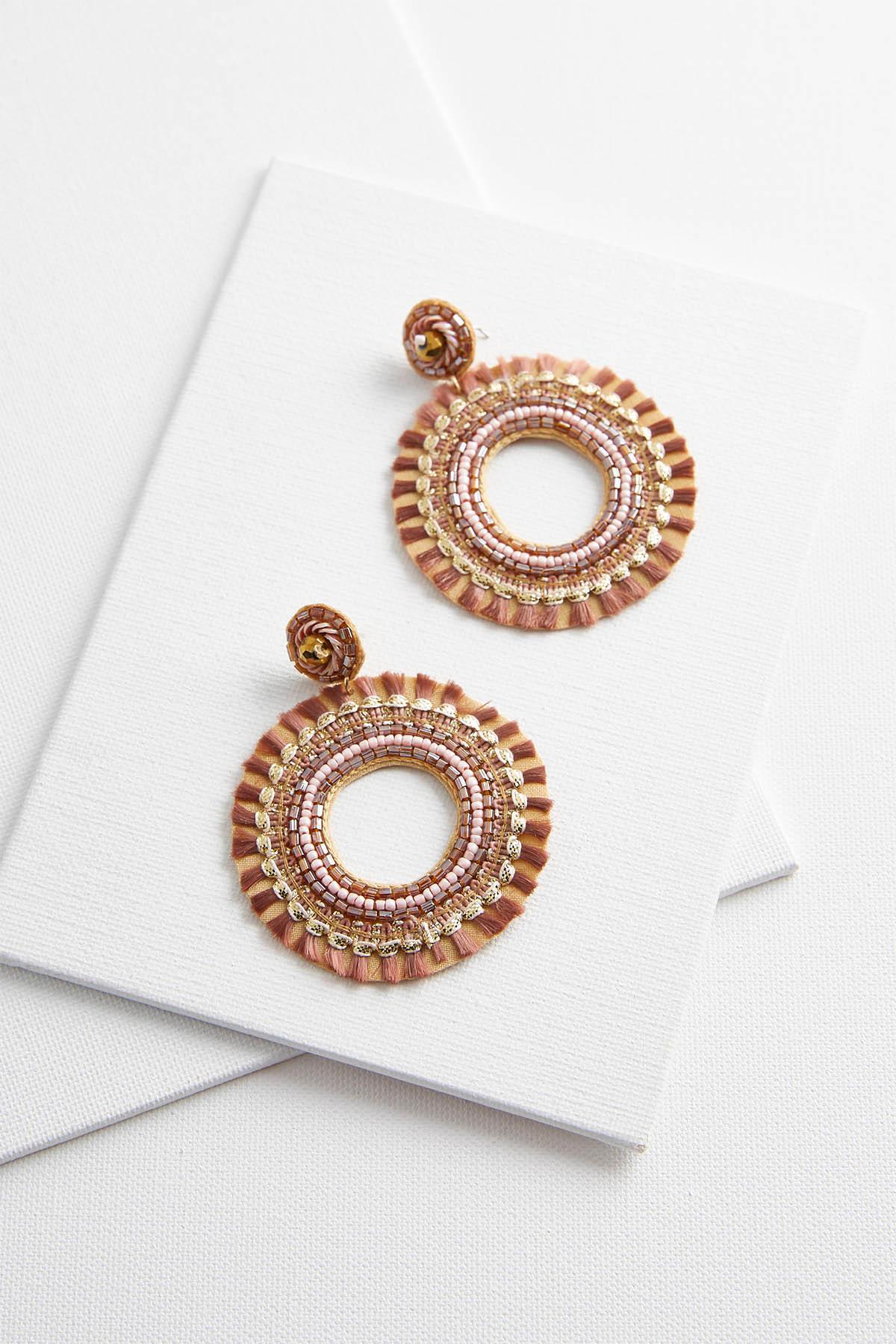 Seed Bead Fringe Hoop Earrings