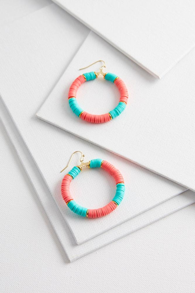 Rubber Beaded Hoop Earrings