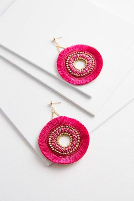 circular beaded fringe earrings